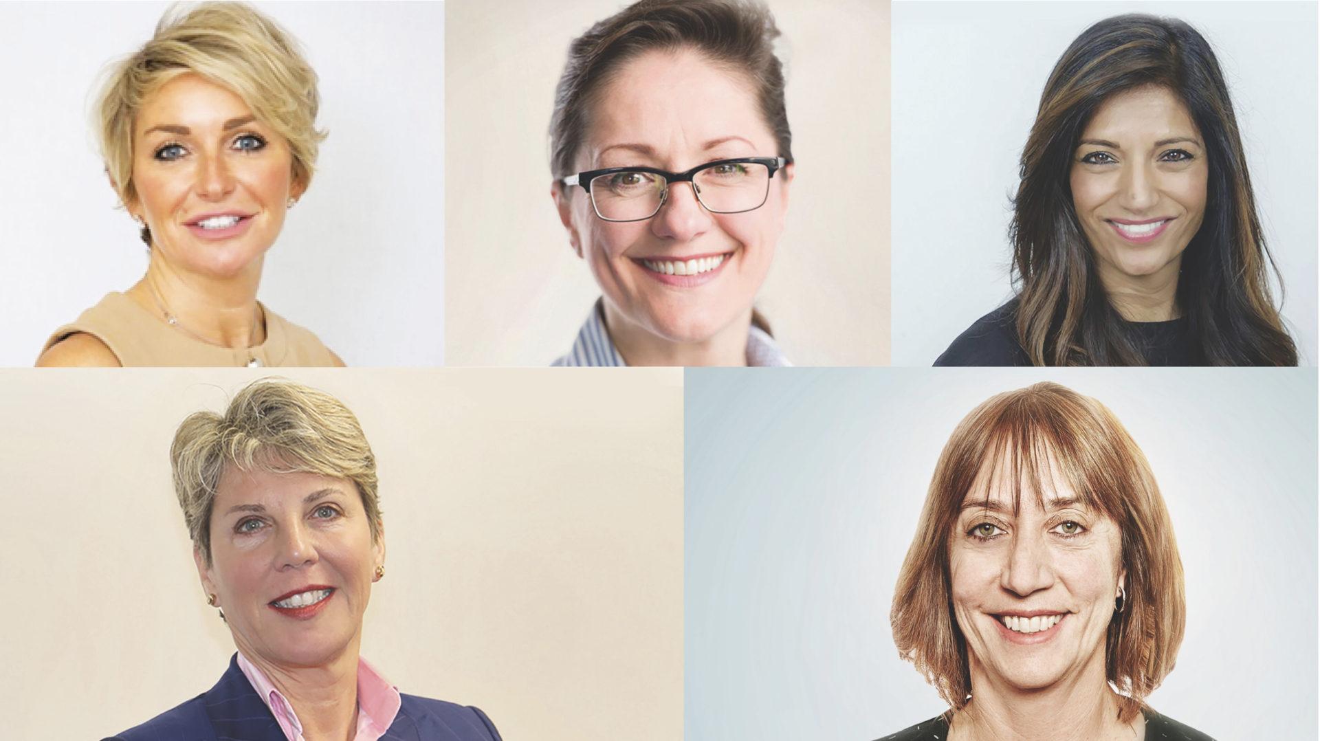 Women on the boards of major contractors include (clockwise from top left): Mandy Willis, Mace; Katy Dowding, Skanska UK; Kelly Gangotra, Skanska UK; Zoe Price, ISG (image: Solk Photography); Amanda Fisher, Amey