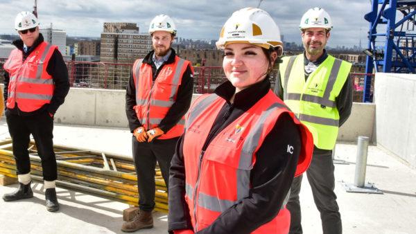 Apprentice India Cormack on site in Barking